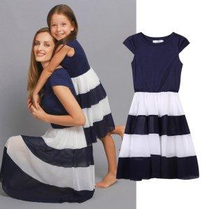 Mutter/Tochter Chiffon-Kleid mit gestreiftem Rockteil