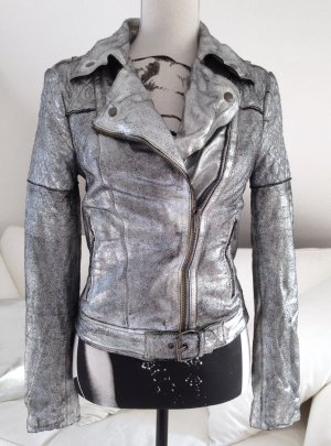 Muubaa Leather Jacket silver-colored leather