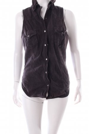 Muubaa Leather Vest dark brown Metal buttons