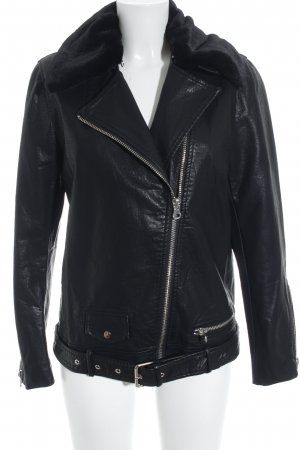 MVN Faux Leather Jacket black casual look