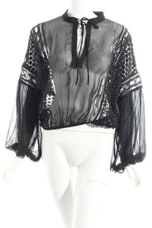 MVN Transparenz-Bluse schwarz Casual-Look