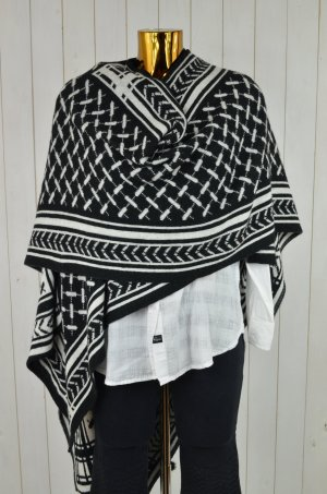 MY COSY COUTURE Damen Poncho Wendeponcho Strick Schwarz Weiß Palimuster OS