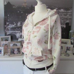 My Hailys * Süße Sweatshirtjacke Hoodie * creme rosa Rosenprint * XL+=40/42 NEU