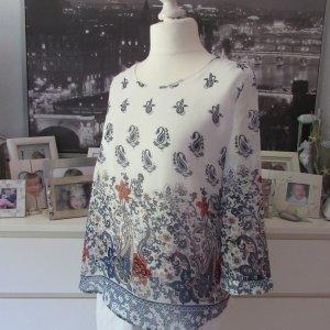 My Hailys * %Summer SALE% Süße Chiffon Lagen Tunika Bluse * blau-weiß-rot Paisley * XL+=40/42