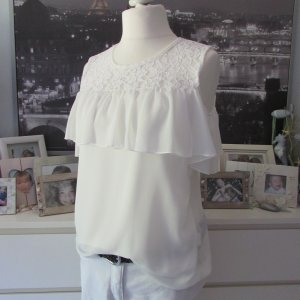 My Hailys * %Summer SALE% Süßes cut-out Volant Blusen Top * creme-weiß Spitze Chiffon * XXL=42/44