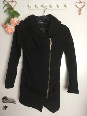 My Hailys XS Schwarz Jacke mit XXL Kapuze Kragen Gold Mantel