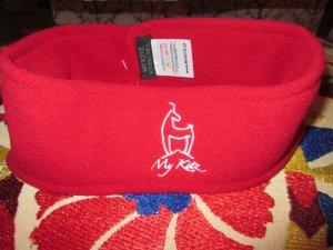 Cache-oreilles rouge brique-blanc polyester