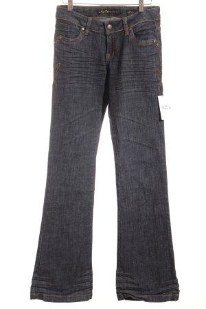 My Star Jeansschlaghose gelb-blau florales Muster Jeans-Optik