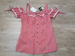 Checked Blouse white-red