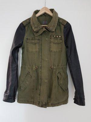 mymo Jacke khaki mit Ärmeln in Lederoptik Gr. S - Military Style * Biker Look