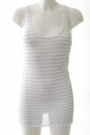 Mymo Tanktop weiß-silberfarben Streifenmuster Casual-Look