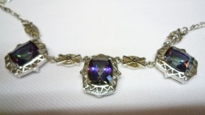 Collar estilo collier multicolor plata verdadero
