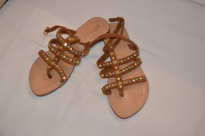 T-Strap Sandals bronze-colored suede