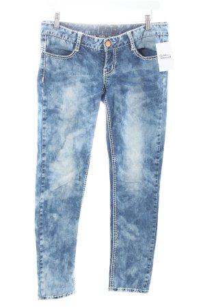 N n.d.c. made by hand Skinny Jeans dunkelblau-wollweiß Batikmuster Casual-Look
