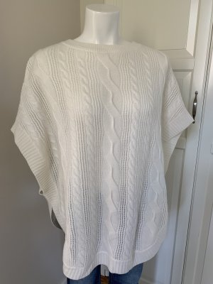 Cashmere Knitted Poncho natural white