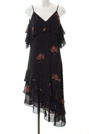 NA-KD Abendkleid schwarz-hellrot florales Muster Elegant