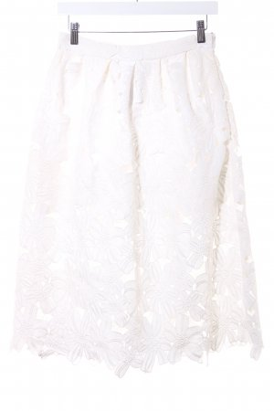 NA-KD Flared Skirt natural white flower pattern romantic style