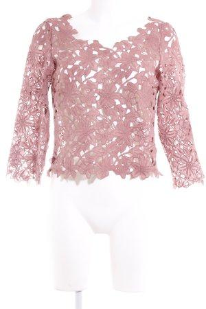 NA-KD Gehaakt shirt stoffig roze bloemenprint casual uitstraling