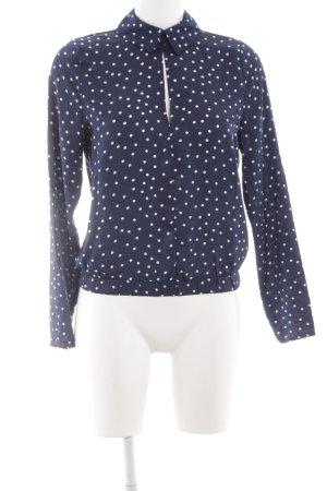 NA-KD Langarm-Bluse dunkelblau-weiß Punktemuster schlichter Stil