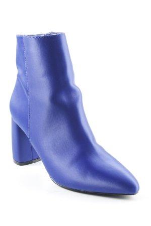 NA-KD Reißverschluss-Stiefeletten blau Glanz-Optik
