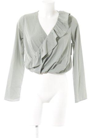 NA-KD Rüschen-Bluse graugrün Casual-Look