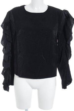 NA-KD Blusa con volantes negro estilo minimalista