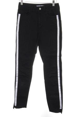 NA-KD Skinny Jeans schwarz-weiß Streifenmuster Street-Fashion-Look
