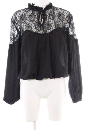NA-KD Lace Blouse black flower pattern elegant