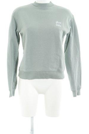 NA-KD Sweatshirt graugrün Schriftzug gestickt Casual-Look