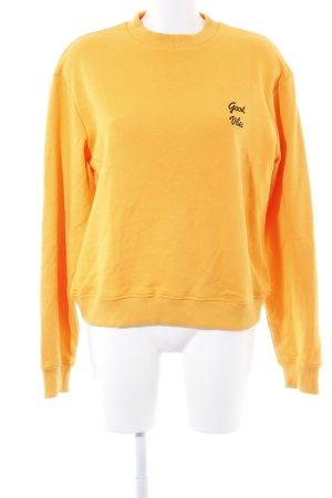 NA-KD Sweat Shirt orange-black embroidered lettering minimalist style