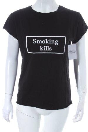 NA-KD T-Shirt schwarz Schriftzug gedruckt Casual-Look