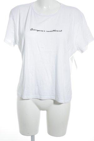 NA-KD T-Shirt weiß-schwarz Schriftzug gestickt Casual-Look