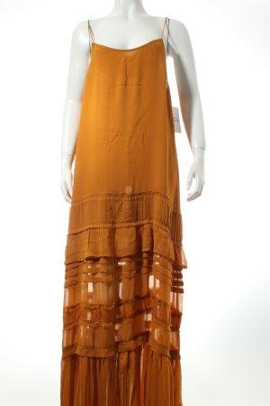 "NA-KD Trägerkleid ""Spahetti Strap Layered Dress"" dunkelgelb"