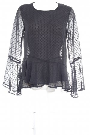 NA-KD Transparenz-Bluse schwarz Punktemuster Elegant