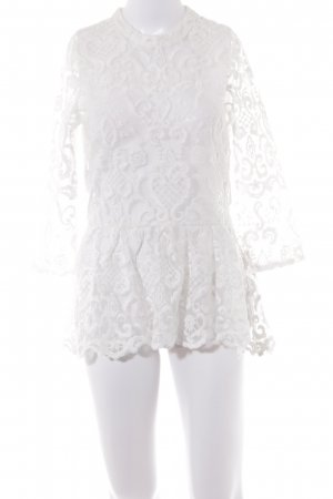 NA-KD Transparenz-Bluse weiß Ornamentenmuster Elegant