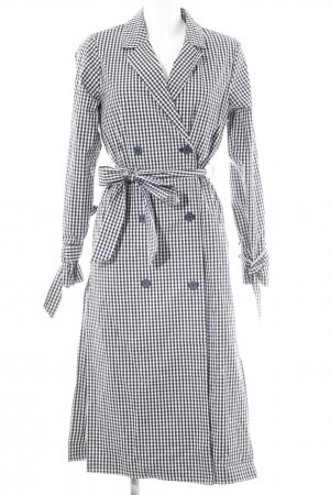 NA-KD Trench Coat black-white Vichy check pattern Paris-Look