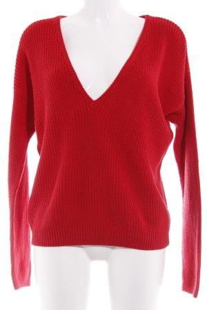NA-KD V-Ausschnitt-Pullover rot schlichter Stil