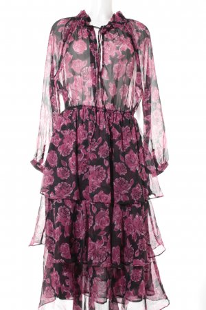 NA-KD Flounce Dress black-blackberry-red flower pattern hippie style
