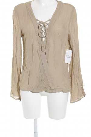 NA-KD Wraparound Blouse sand brown street-fashion look