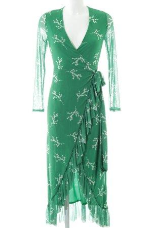 NA-KD Wickelkleid grün-weiß florales Muster 70ies-Stil