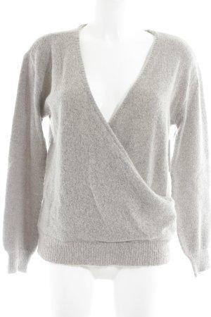 NA-KD Wollpullover hellgrau meliert minimalistischer Stil
