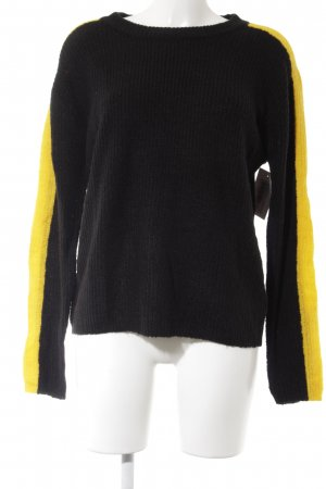 NA-KD Wollpullover schwarz-goldorange Webmuster Casual-Look