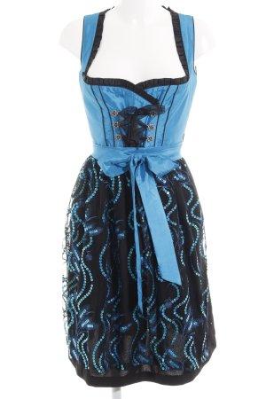 Naber Collection Dirndl schwarz-neonblau florales Muster Metallelemente