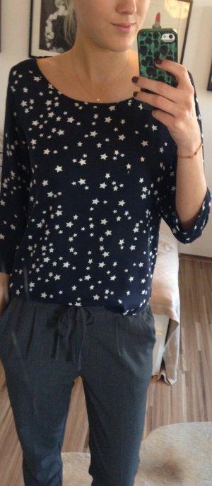 Nachtblaues Sternchen Blusenshirt mit 3/4 Arm