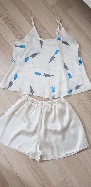 Pyjama lichtgeel-azuur
