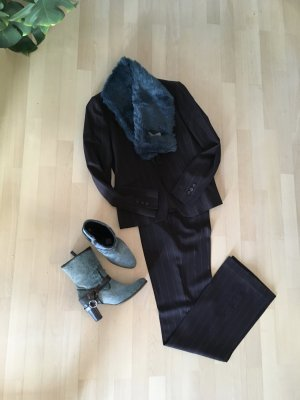 Zara Woman Abito gessato marrone scuro-bianco sporco