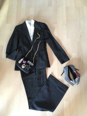 Zara Basic Pinstripe Suit black-white