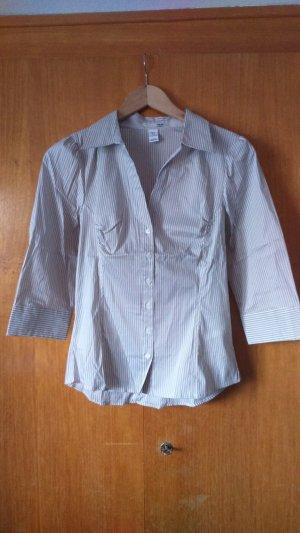 H&M Empiècement de blouses blanc-gris brun tissu mixte