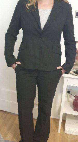 H&M Traje a rayas negro-gris antracita