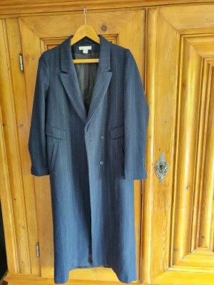 Nadelstreifen Woll Mantel Navi dunkelblau weiß